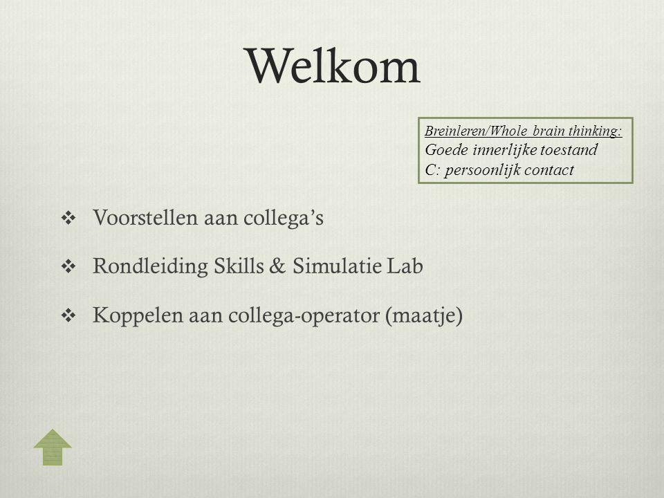 Welkom  Voorstellen aan collega's  Rondleiding Skills & Simulatie Lab  Koppelen aan collega-operator (maatje) Breinleren/Whole brain thinking: Goed