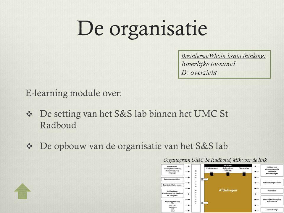 De organisatie E-learning module over:  De setting van het S&S lab binnen het UMC St Radboud  De opbouw van de organisatie van het S&S lab Breinlere