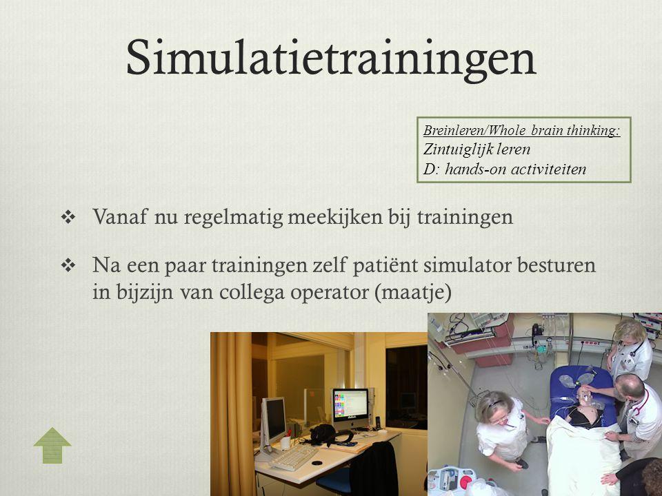 Simulatietrainingen  Vanaf nu regelmatig meekijken bij trainingen  Na een paar trainingen zelf patiënt simulator besturen in bijzijn van collega ope
