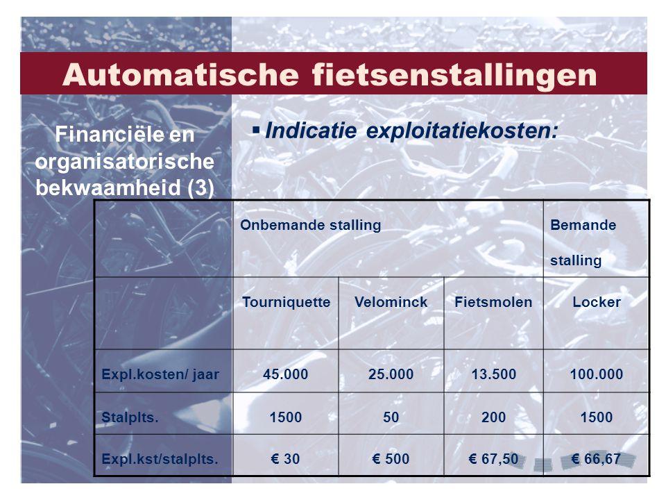  Indicatie exploitatiekosten: Financiële en organisatorische bekwaamheid (3) Onbemande stalling Bemande stalling TourniquetteVelominckFietsmolenLocke
