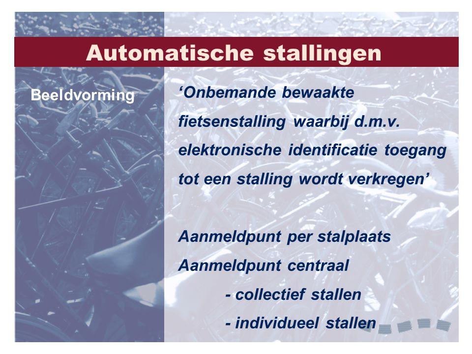 Automatische stallingen 'Onbemande bewaakte fietsenstalling waarbij d.m.v. elektronische identificatie toegang tot een stalling wordt verkregen' Aanme
