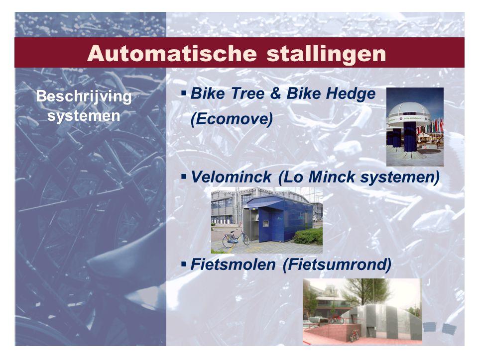 Automatische stallingen  Bike Tree & Bike Hedge (Ecomove)  Velominck (Lo Minck systemen)  Fietsmolen (Fietsumrond) Beschrijving systemen