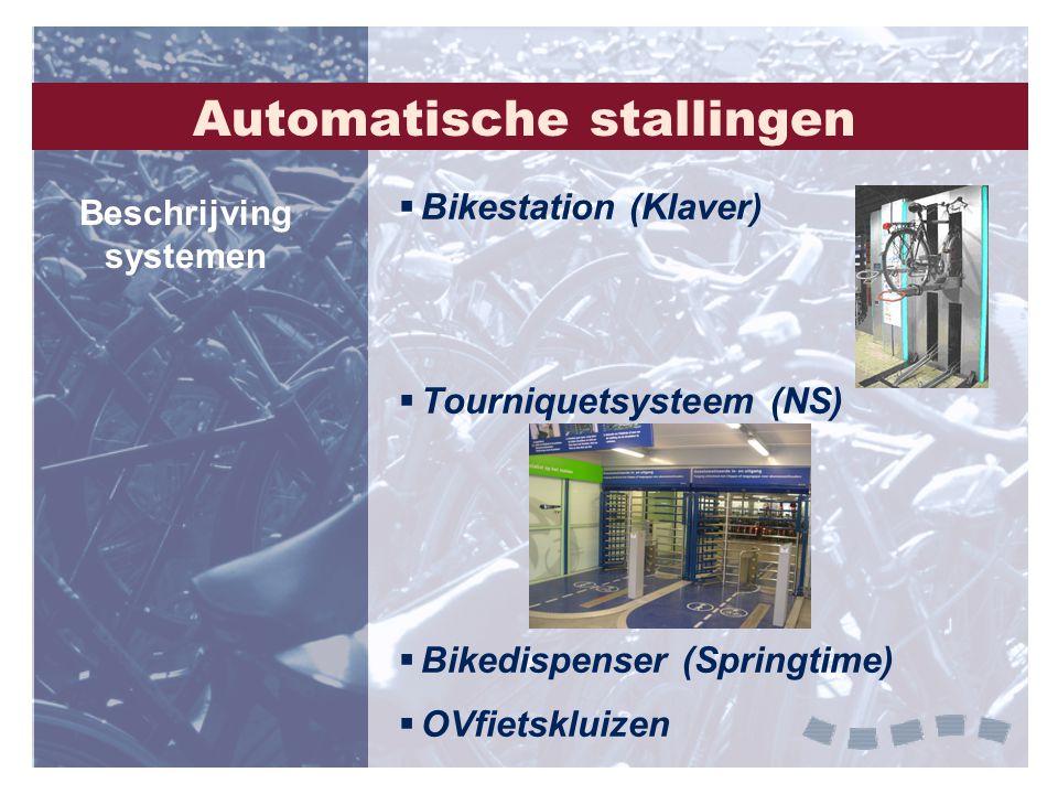 Automatische stallingen  Bikestation (Klaver)  Tourniquetsysteem (NS)  Bikedispenser (Springtime)  OVfietskluizen Beschrijving systemen