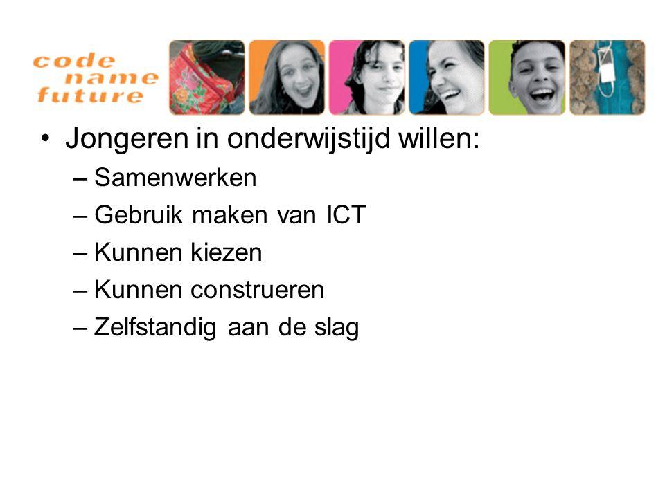 Jongeren in onderwijstijd willen: –Samenwerken –Gebruik maken van ICT –Kunnen kiezen –Kunnen construeren –Zelfstandig aan de slag