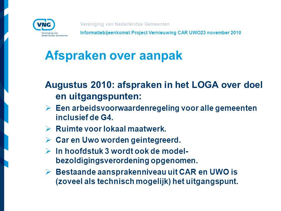 Vereniging van Nederlandse Gemeenten Informatiebijeenkomst Project Vernieuwing CAR UWO23 november 2010 Afspraken over aanpak Augustus 2010: afspraken