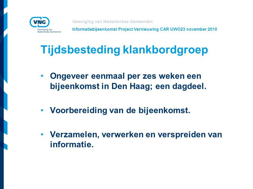 Vereniging van Nederlandse Gemeenten Informatiebijeenkomst Project Vernieuwing CAR UWO23 november 2010 Tijdsbesteding klankbordgroep Ongeveer eenmaal