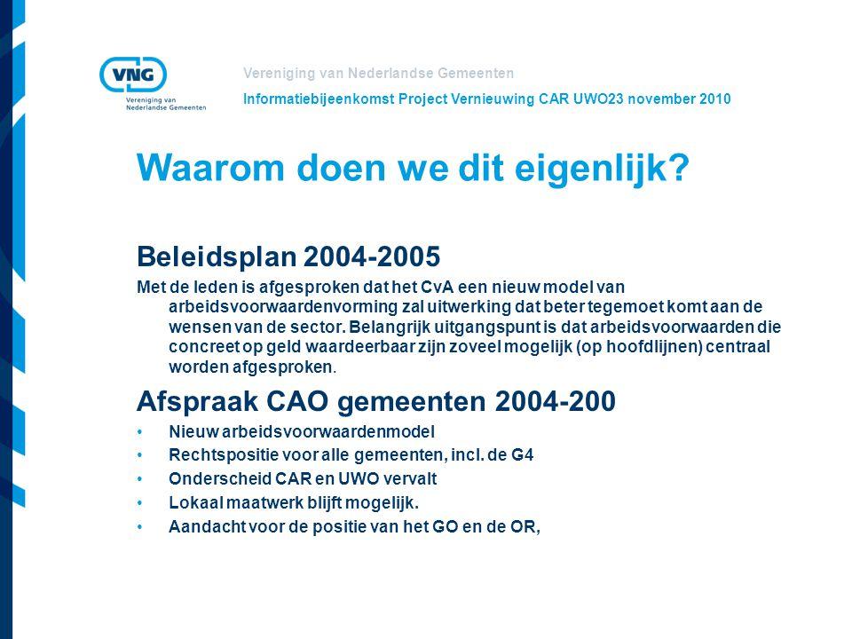 Vereniging van Nederlandse Gemeenten Informatiebijeenkomst Project Vernieuwing CAR UWO23 november 2010 Betrokkenheid gemeenten  Informatiebijeenkomsten Veel reacties n.a.v.