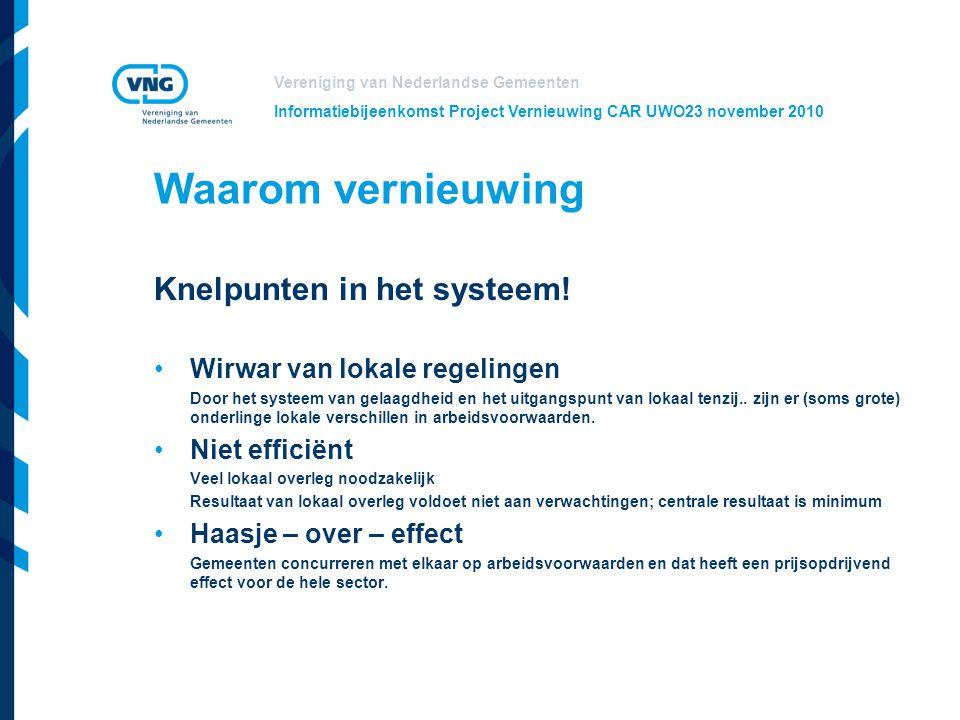 Vereniging van Nederlandse Gemeenten Informatiebijeenkomst Project Vernieuwing CAR UWO23 november 2010 Waarom vernieuwing Knelpunten in het systeem! W