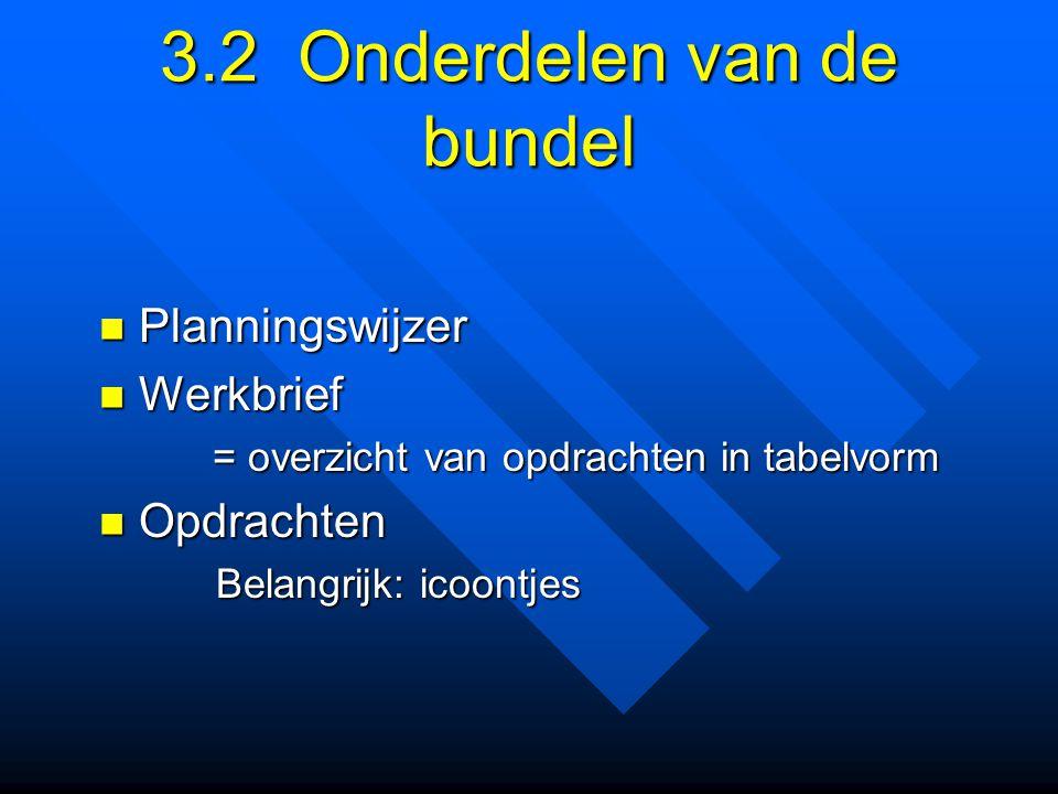 3.2 Onderdelen van de bundel Planningswijzer Planningswijzer Werkbrief Werkbrief = overzicht van opdrachten in tabelvorm = overzicht van opdrachten in