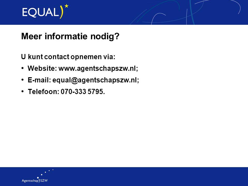 Meer informatie nodig? U kunt contact opnemen via: Website: www.agentschapszw.nl; E-mail: equal@agentschapszw.nl; Telefoon: 070-333 5795.