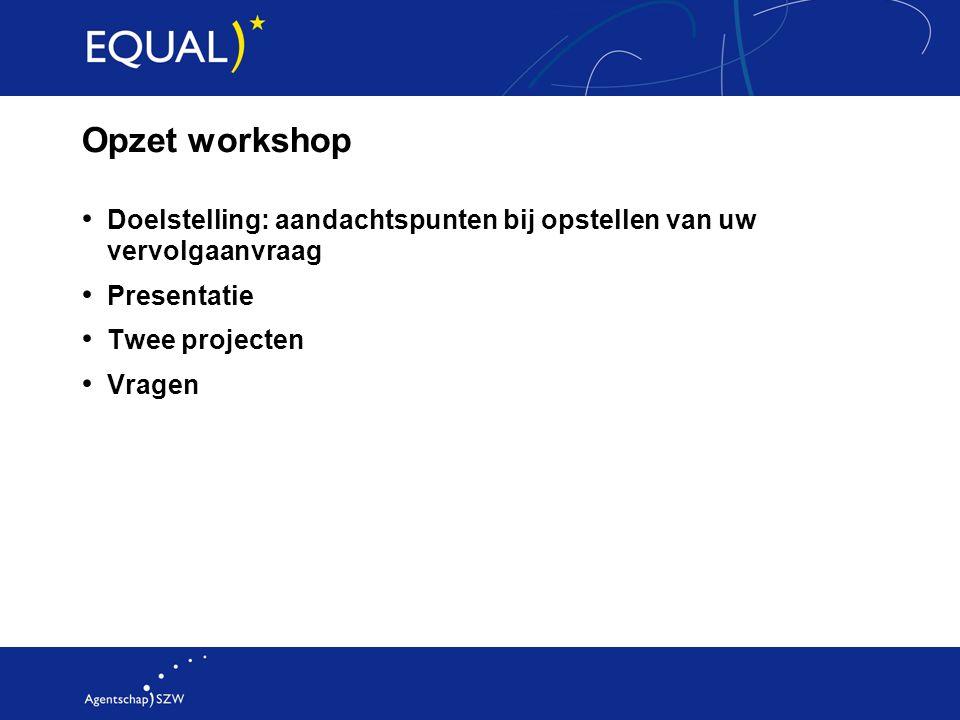 Opzet workshop Doelstelling: aandachtspunten bij opstellen van uw vervolgaanvraag Presentatie Twee projecten Vragen