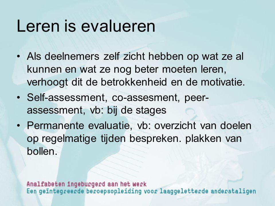 Leren is evalueren Als deelnemers zelf zicht hebben op wat ze al kunnen en wat ze nog beter moeten leren, verhoogt dit de betrokkenheid en de motivati