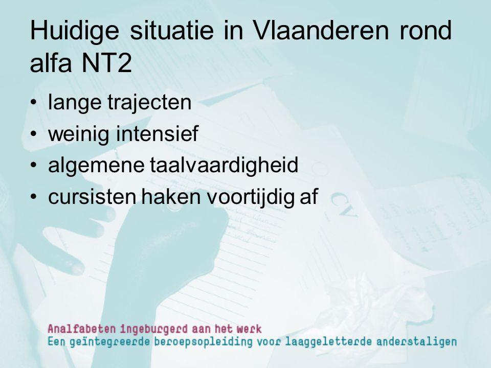 Huidige situatie in Vlaanderen rond alfa NT2 lange trajecten weinig intensief algemene taalvaardigheid cursisten haken voortijdig af