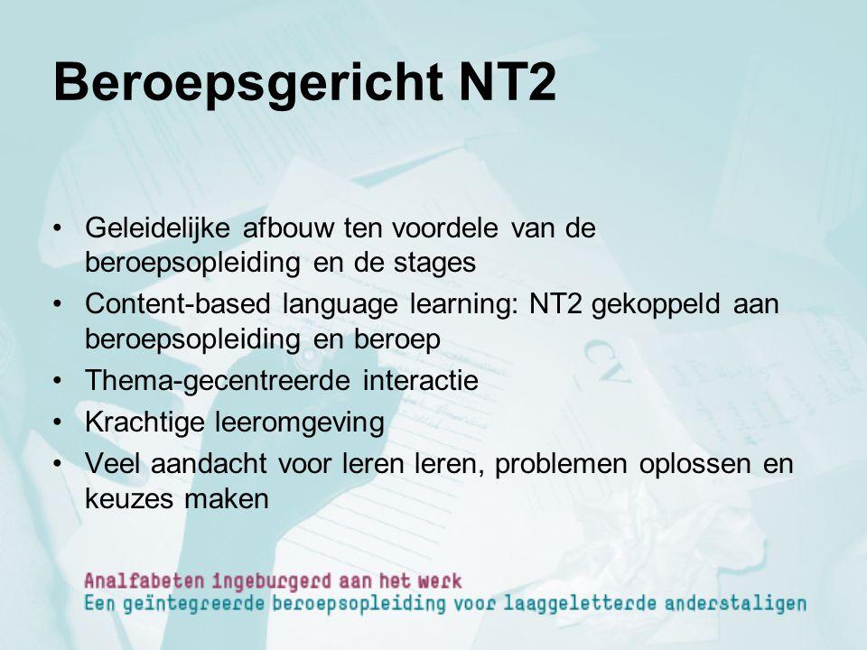 Beroepsgericht NT2 Geleidelijke afbouw ten voordele van de beroepsopleiding en de stages Content-based language learning: NT2 gekoppeld aan beroepsopl