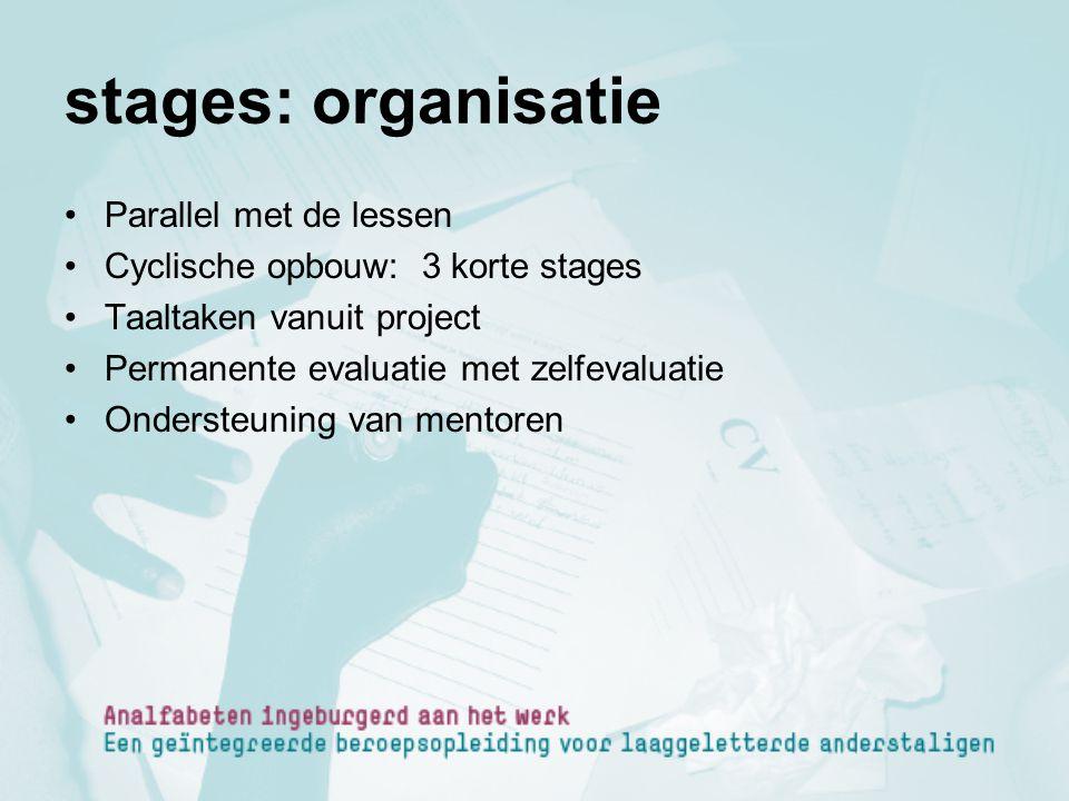 stages: organisatie Parallel met de lessen Cyclische opbouw: 3 korte stages Taaltaken vanuit project Permanente evaluatie met zelfevaluatie Ondersteun