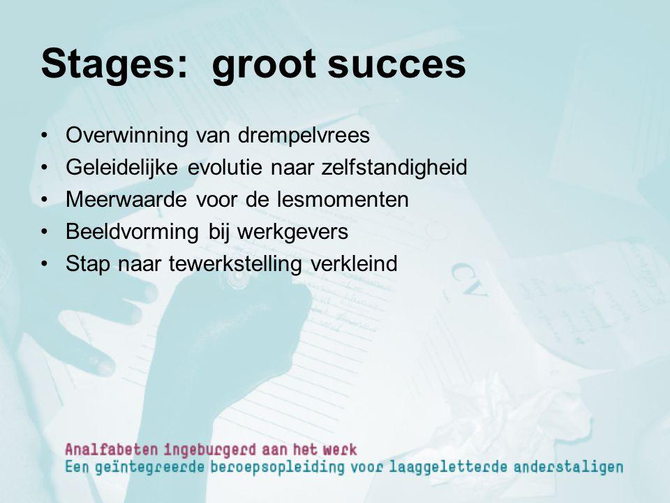 Stages: groot succes Overwinning van drempelvrees Geleidelijke evolutie naar zelfstandigheid Meerwaarde voor de lesmomenten Beeldvorming bij werkgever