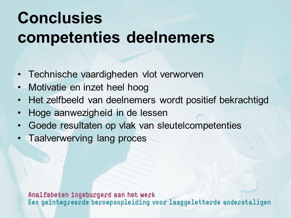 Conclusies competenties deelnemers Technische vaardigheden vlot verworven Motivatie en inzet heel hoog Het zelfbeeld van deelnemers wordt positief bek