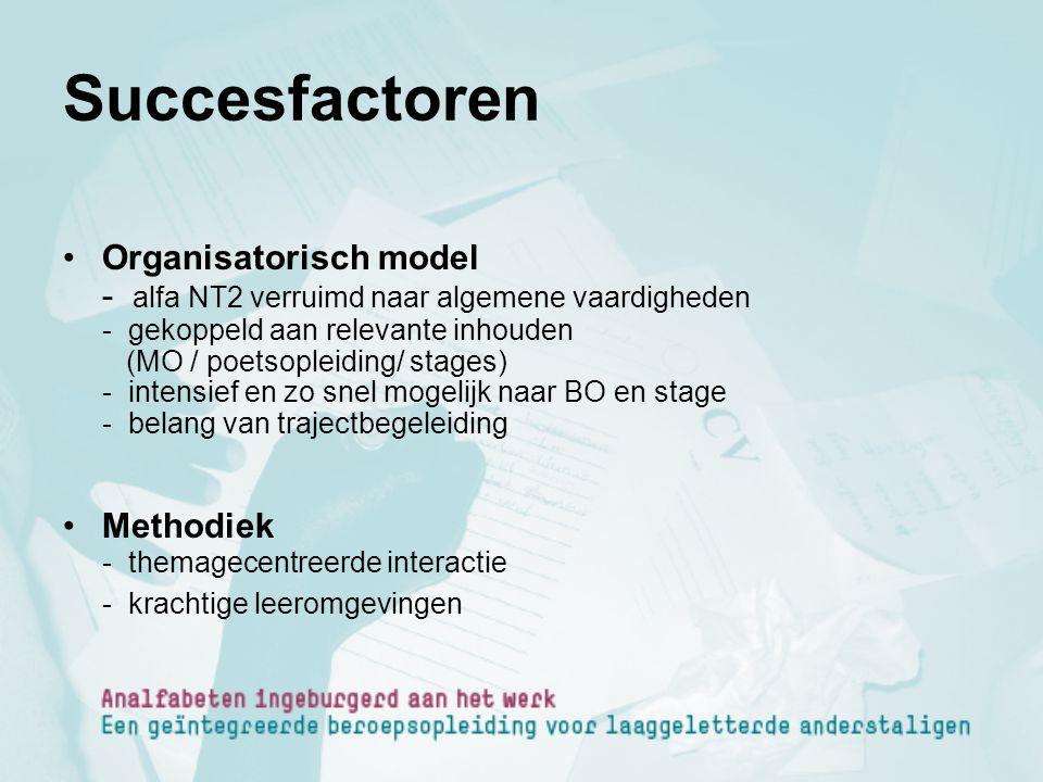 Succesfactoren Organisatorisch model - alfa NT2 verruimd naar algemene vaardigheden - gekoppeld aan relevante inhouden (MO / poetsopleiding/ stages) -
