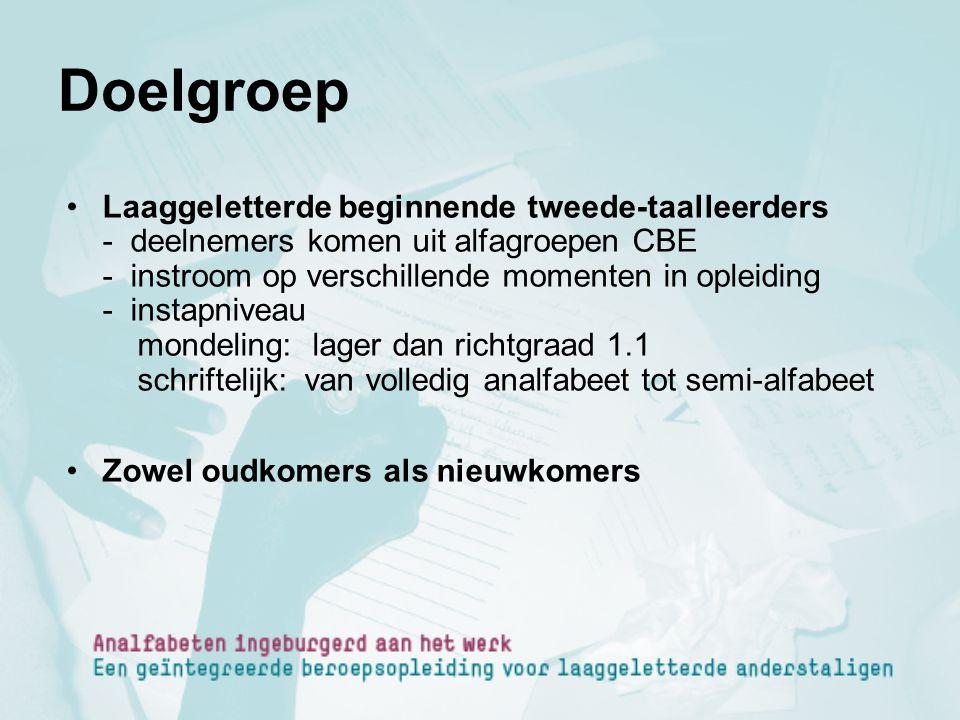 Doelgroep Laaggeletterde beginnende tweede-taalleerders - deelnemers komen uit alfagroepen CBE - instroom op verschillende momenten in opleiding - ins