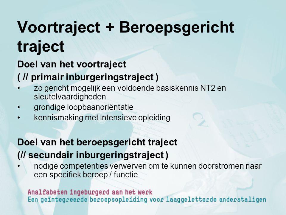 Voortraject + Beroepsgericht traject Doel van het voortraject ( // primair inburgeringstraject ) zo gericht mogelijk een voldoende basiskennis NT2 en