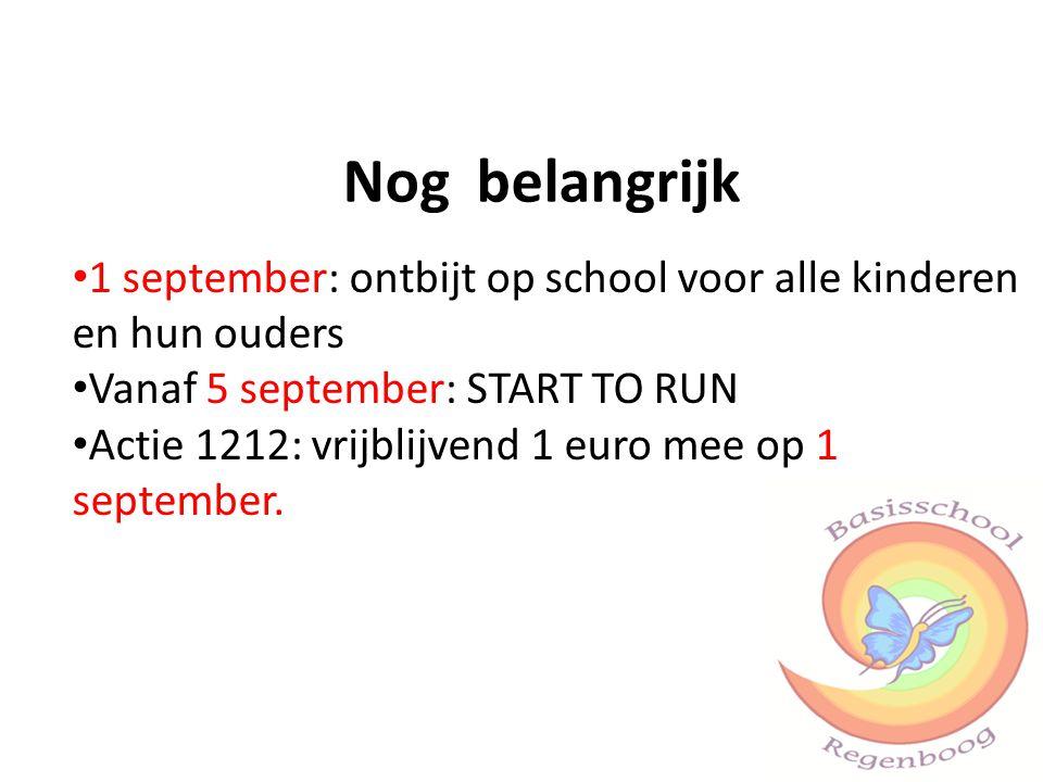 Nog belangrijk 1 september: ontbijt op school voor alle kinderen en hun ouders Vanaf 5 september: START TO RUN Actie 1212: vrijblijvend 1 euro mee op 1 september.