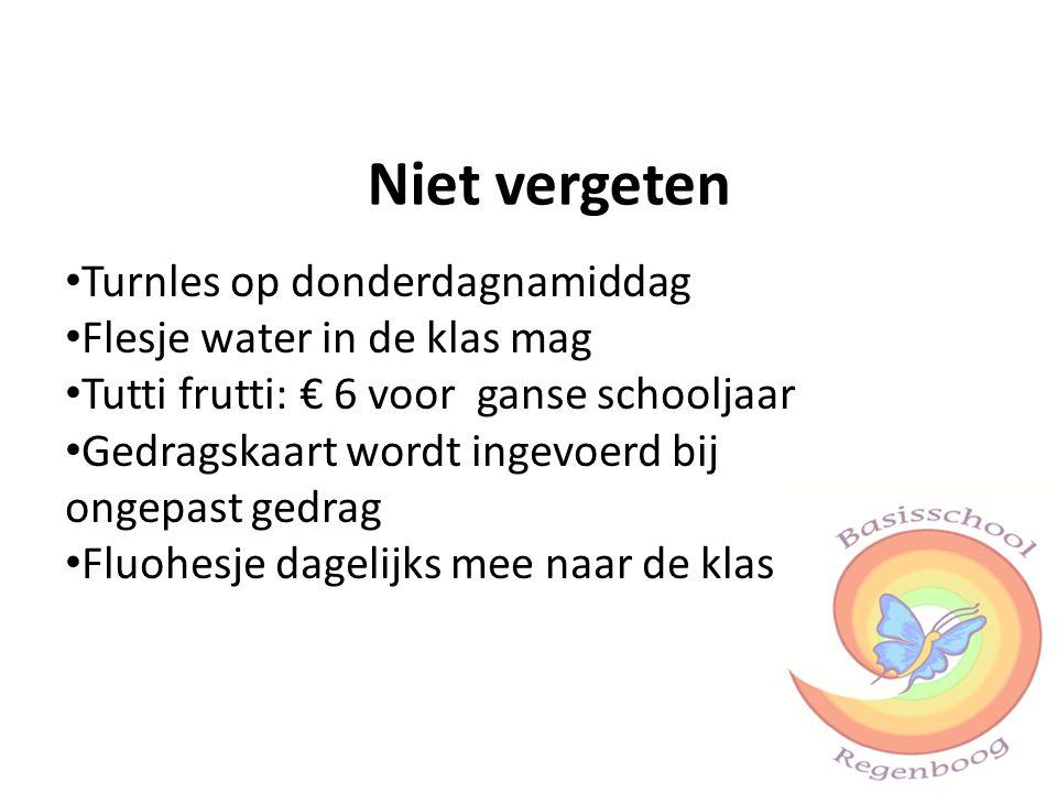 Turnles op donderdagnamiddag Flesje water in de klas mag Tutti frutti: € 6 voor ganse schooljaar Gedragskaart wordt ingevoerd bij ongepast gedrag Fluohesje dagelijks mee naar de klas Niet vergeten