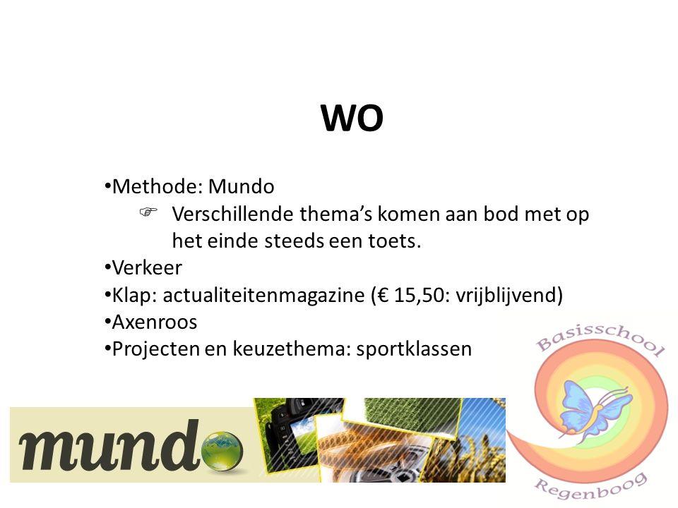 WO Methode: Mundo  Verschillende thema's komen aan bod met op het einde steeds een toets. Verkeer Klap: actualiteitenmagazine (€ 15,50: vrijblijvend)
