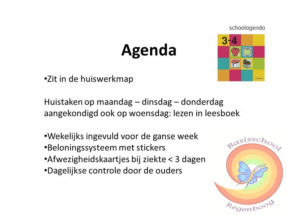 Agenda Zit in de huiswerkmap Huistaken op maandag – dinsdag – donderdag aangekondigd ook op woensdag: lezen in leesboek Wekelijks ingevuld voor de gan