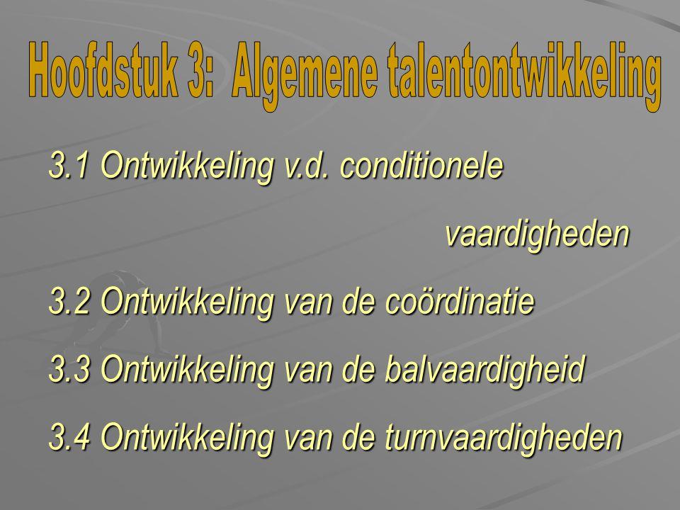 3.1 Ontwikkeling v.d. conditionele vaardigheden vaardigheden 3.2 Ontwikkeling van de coördinatie 3.3 Ontwikkeling van de balvaardigheid 3.4 Ontwikkeli