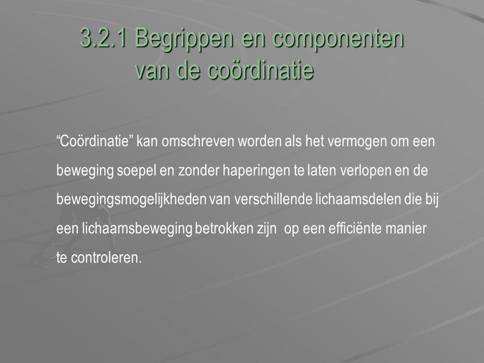 """3.2.1 Begrippen en componenten van de coördinatie van de coördinatie """"Coördinatie"""" kan omschreven worden als het vermogen om een beweging soepel en zo"""