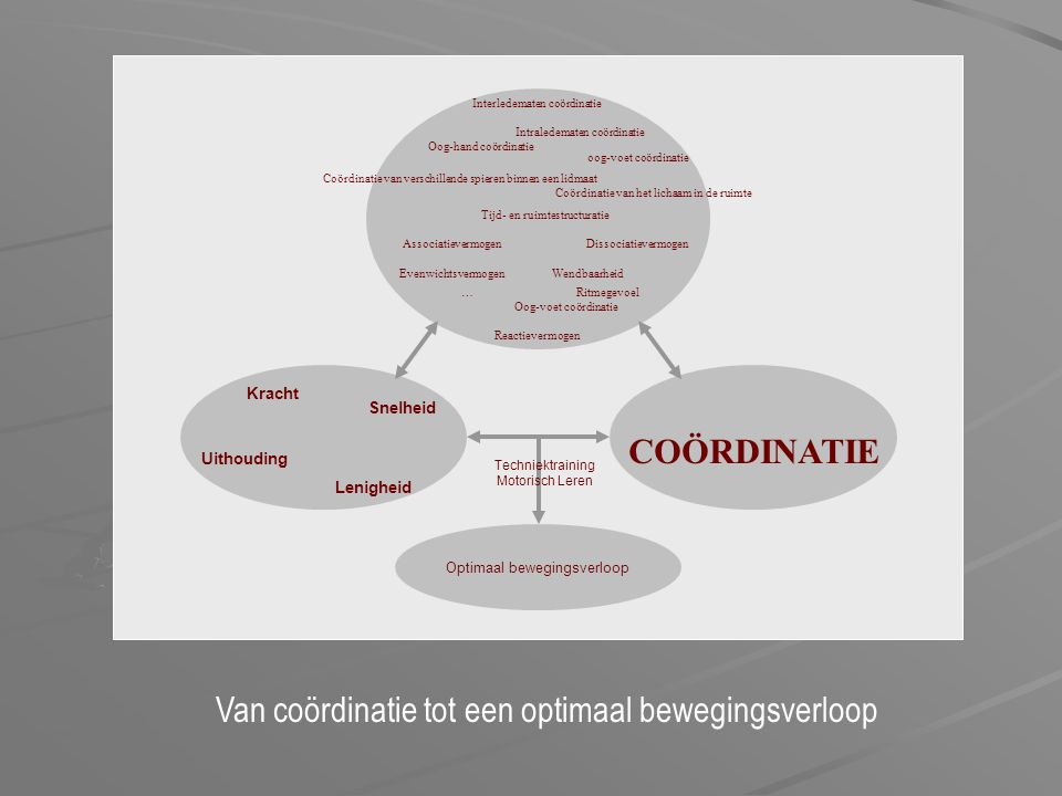 COÖRDINATIE Interledematen coördinatie Intraledematen coördinatie Oog-hand coördinatie Oog-voet coördinatie oog-voet coördinatie Coördinatie van versc