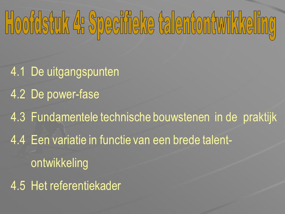 4.1 De uitgangspunten 4.2 De power-fase 4.3 Fundamentele technische bouwstenen in de praktijk 4.4 Een variatie in functie van een brede talent- ontwik