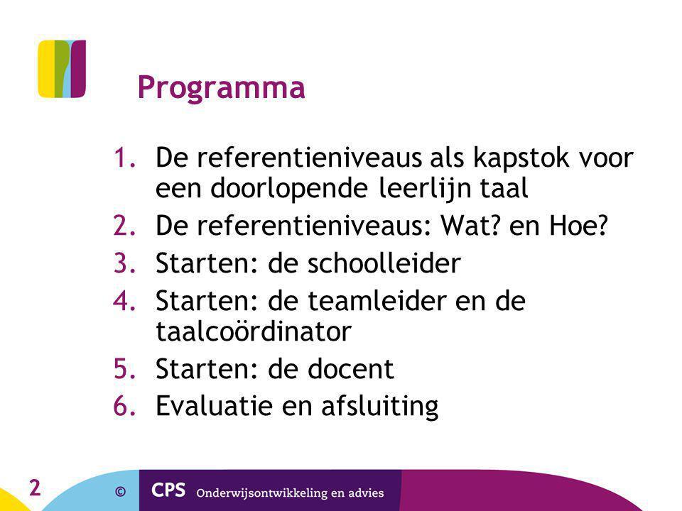 2 Programma 1.De referentieniveaus als kapstok voor een doorlopende leerlijn taal 2.De referentieniveaus: Wat? en Hoe? 3.Starten: de schoolleider 4.St