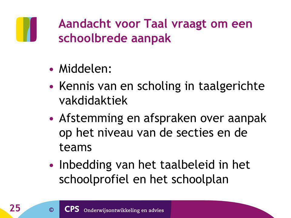 25 Aandacht voor Taal vraagt om een schoolbrede aanpak Middelen: Kennis van en scholing in taalgerichte vakdidaktiek Afstemming en afspraken over aanp