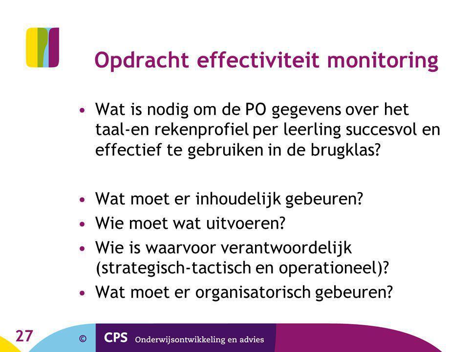 27 Opdracht effectiviteit monitoring Wat is nodig om de PO gegevens over het taal-en rekenprofiel per leerling succesvol en effectief te gebruiken in