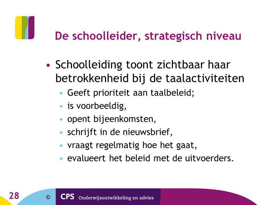28 De schoolleider, strategisch niveau Schoolleiding toont zichtbaar haar betrokkenheid bij de taalactiviteiten Geeft prioriteit aan taalbeleid; is vo