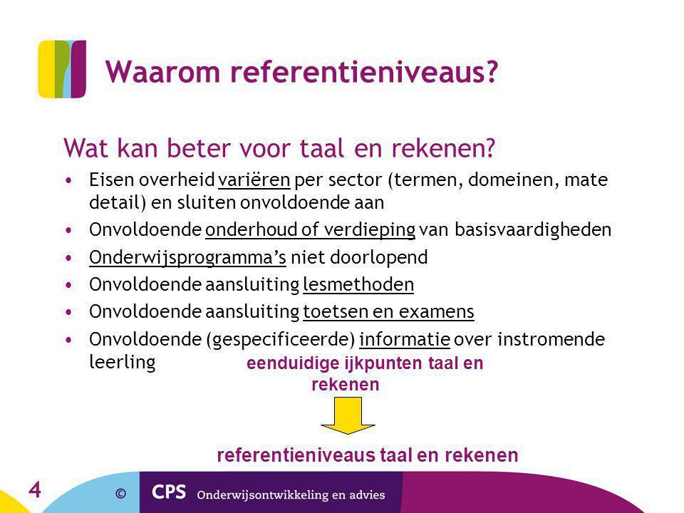 4 Waarom referentieniveaus? Wat kan beter voor taal en rekenen? Eisen overheid variëren per sector (termen, domeinen, mate detail) en sluiten onvoldoe