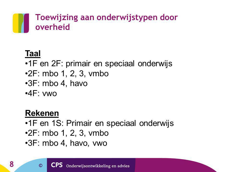 8 Toewijzing aan onderwijstypen door overheid Taal 1F en 2F: primair en speciaal onderwijs 2F: mbo 1, 2, 3, vmbo 3F: mbo 4, havo 4F: vwo Rekenen 1F en
