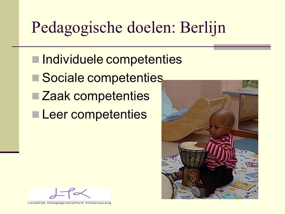 Pedagogische doelen: Berlijn Individuele competenties Sociale competenties Zaak competenties Leer competenties