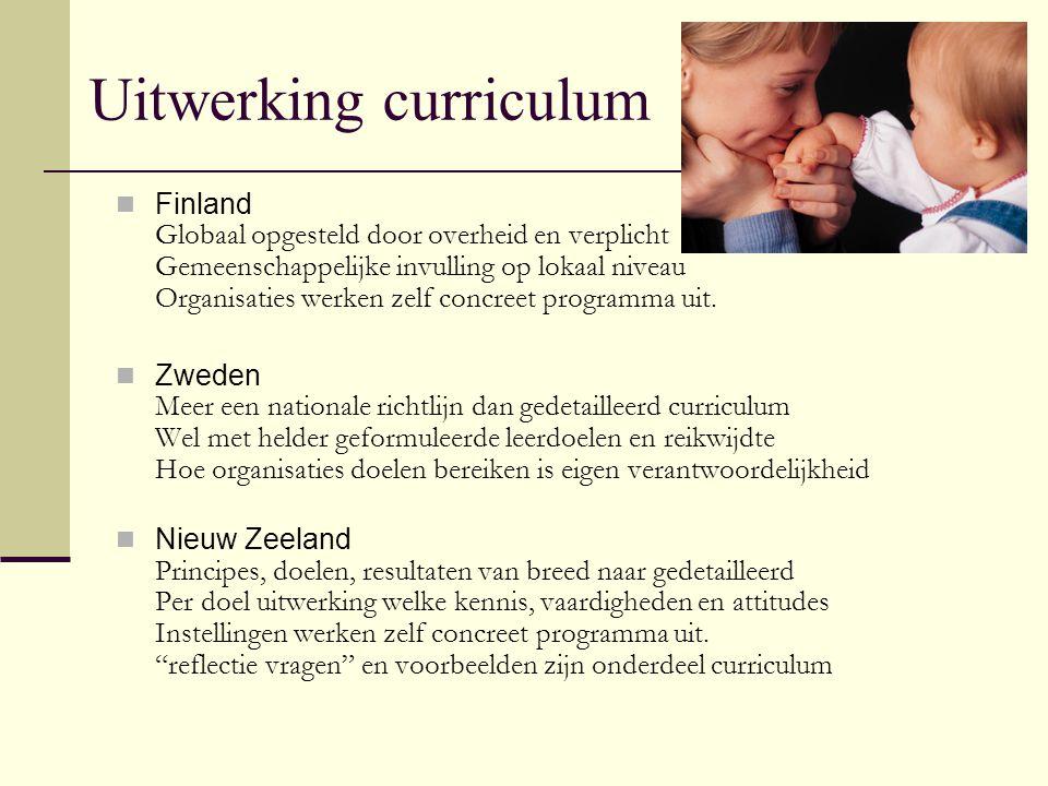 Uitwerking curriculum Finland Globaal opgesteld door overheid en verplicht Gemeenschappelijke invulling op lokaal niveau Organisaties werken zelf conc