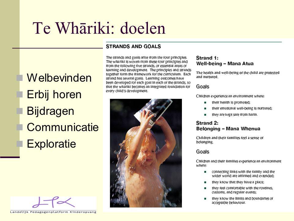 Te Whāriki: doelen Welbevinden Erbij horen Bijdragen Communicatie Exploratie
