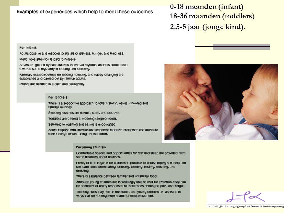 0-18 maanden (infant) 18-36 maanden (toddlers) 2.5-5 jaar (jonge kind).