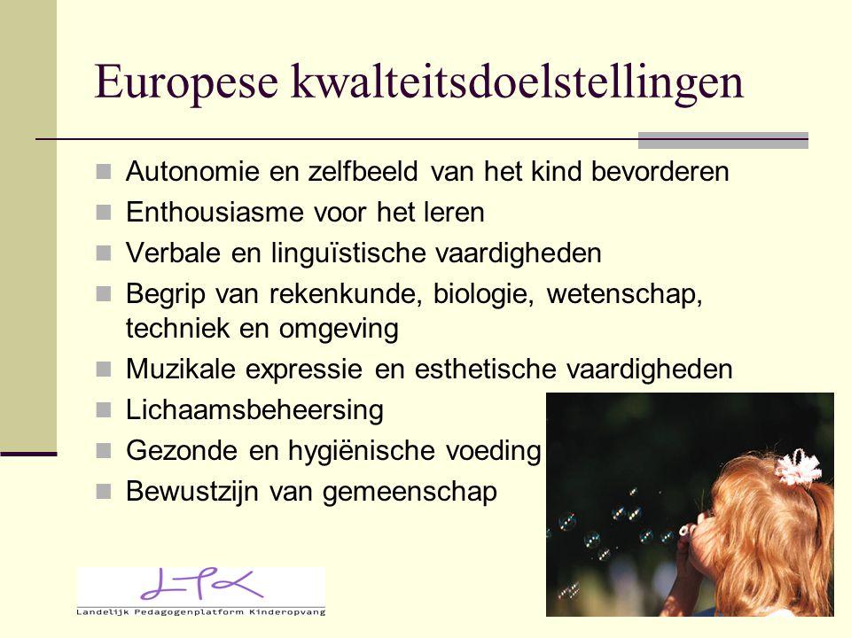 Europese kwalteitsdoelstellingen Autonomie en zelfbeeld van het kind bevorderen Enthousiasme voor het leren Verbale en linguïstische vaardigheden Begr
