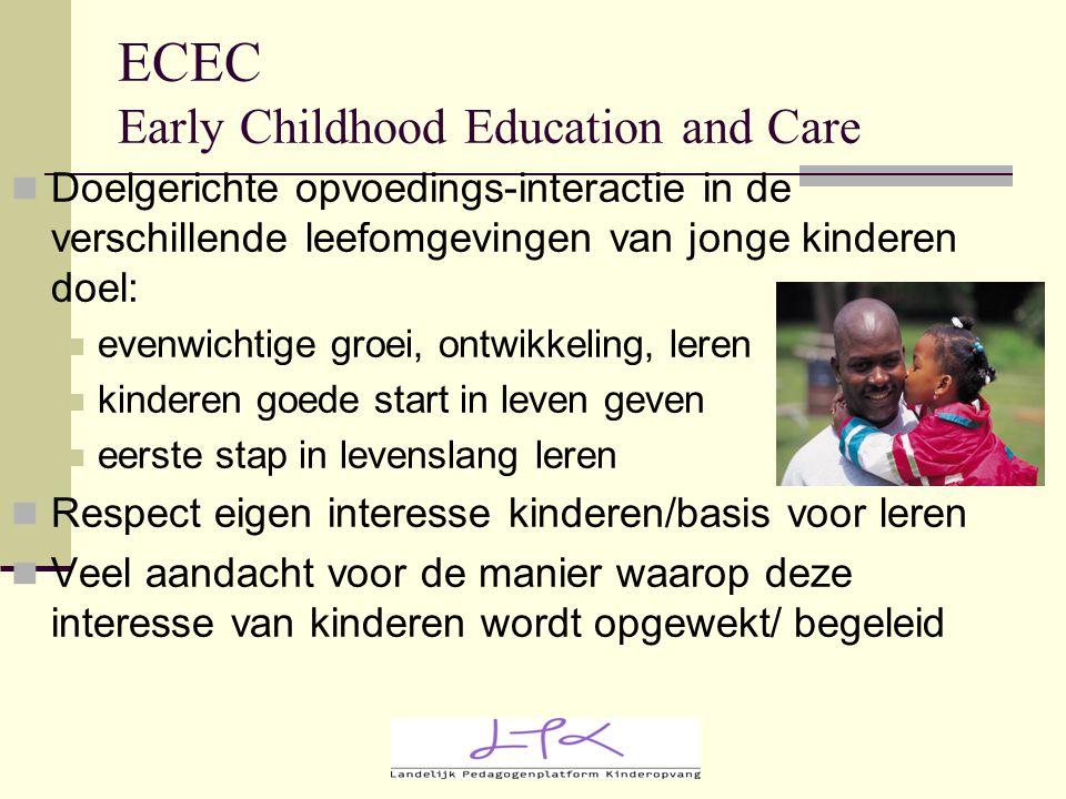 ECEC Early Childhood Education and Care Doelgerichte opvoedings-interactie in de verschillende leefomgevingen van jonge kinderen doel: evenwichtige gr