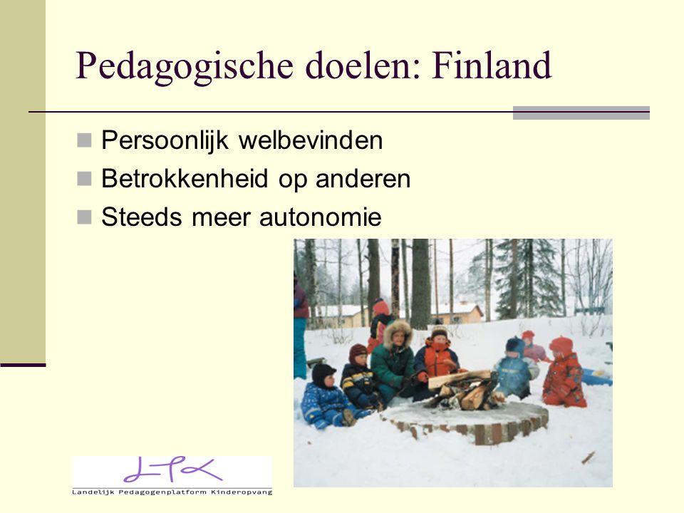 Pedagogische doelen: Finland Persoonlijk welbevinden Betrokkenheid op anderen Steeds meer autonomie
