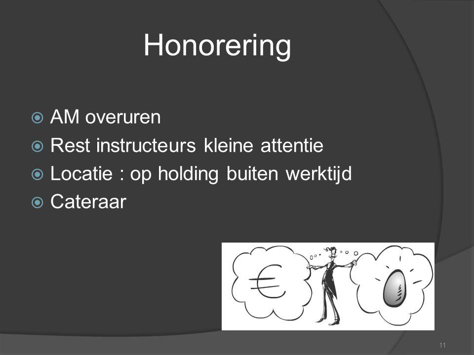 11 Honorering  AM overuren  Rest instructeurs kleine attentie  Locatie : op holding buiten werktijd  Cateraar