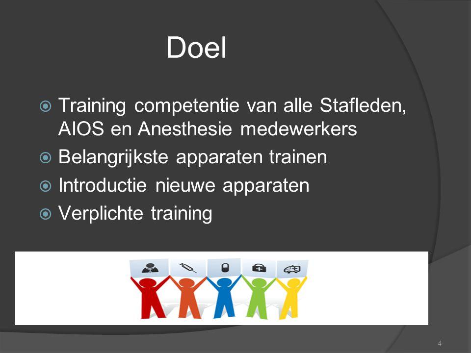 4 Doel  Training competentie van alle Stafleden, AIOS en Anesthesie medewerkers  Belangrijkste apparaten trainen  Introductie nieuwe apparaten  Ve