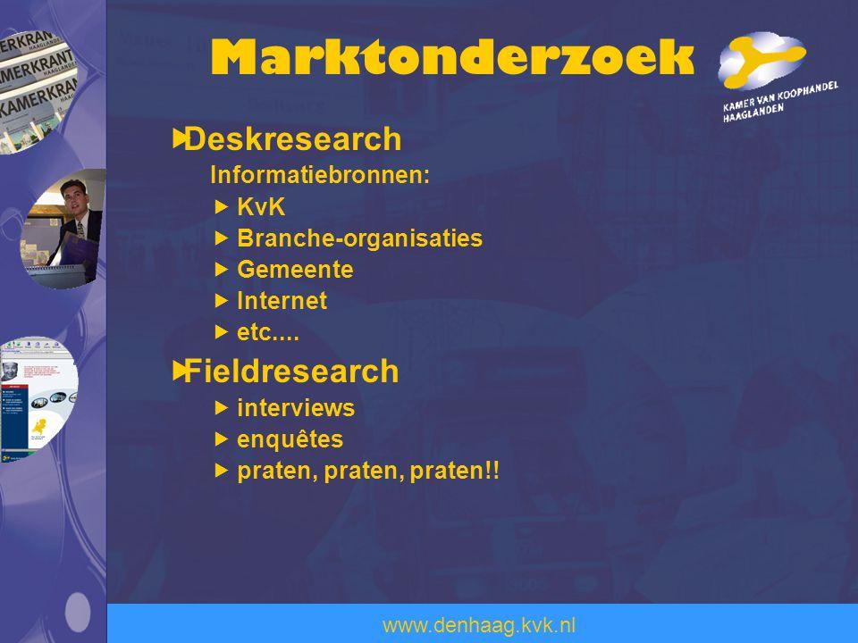 www.denhaag.kvk.nl  Deskresearch Informatiebronnen:  KvK  Branche-organisaties  Gemeente  Internet  etc....  Fieldresearch  interviews  enquê
