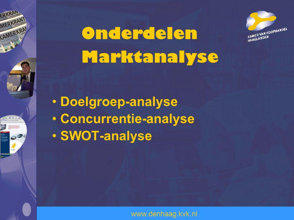 www.denhaag.kvk.nl Doelgroep-analyse Concurrentie-analyse SWOT-analyse Onderdelen Marktanalyse