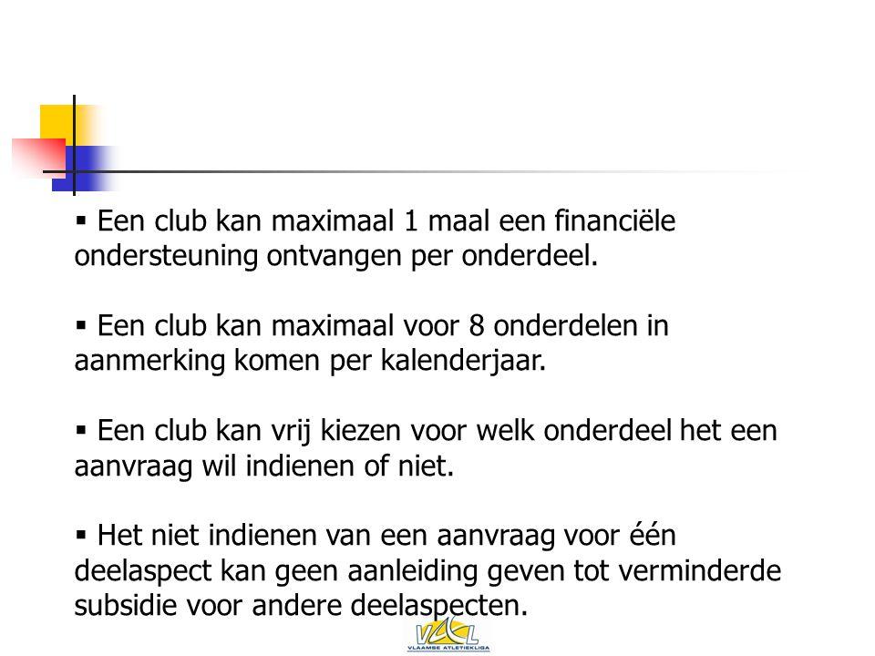  Een club kan maximaal 1 maal een financiële ondersteuning ontvangen per onderdeel.
